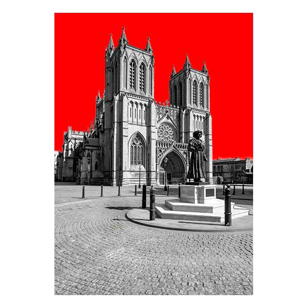 Bristol Cathedral with red background