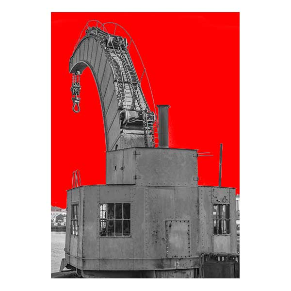 Harbourside Crane with red background