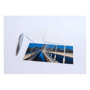 Suspension Bridge in Blue Greeting Card