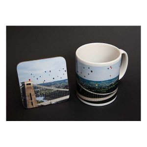 Mug & Coaster Bridge and Balloons Set