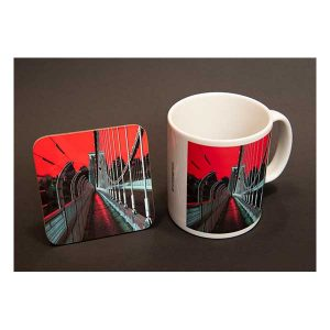 Mug & Coaster Suspension Bridge in Red