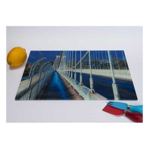 Suspension Bridge Chopping Board Blue