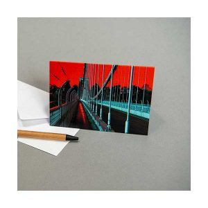 Greeting Card Suspension Bridge with Red Background