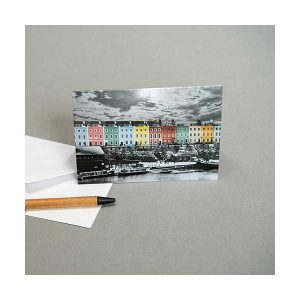 Greeting Card Coloured Houses Snow
