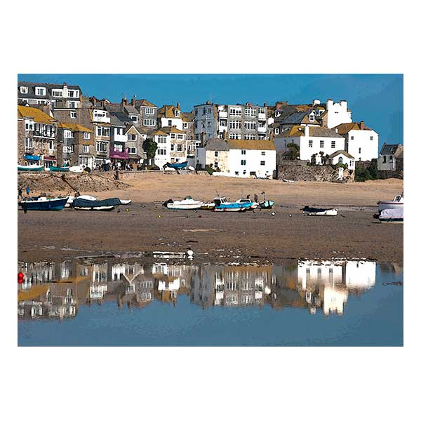 Boats Houses St Ives Harbour reflecting in water